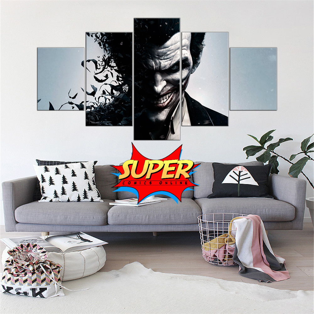 Batman / Joker Canvas Wall Art Painting 5 Pieces - Super Comics Online