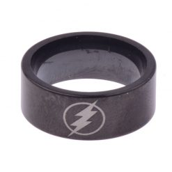 Flash Symbol Stainless Steel Black Ring - Super Comics Online